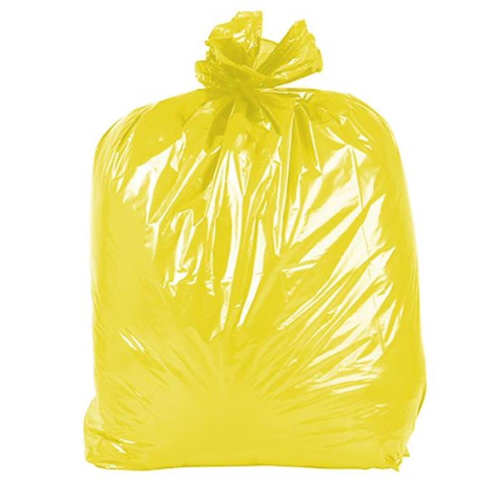 Saco de Lixo Colorido - 100 Unid - Cor: Amarelo, Vol: 20Lx0,06micras