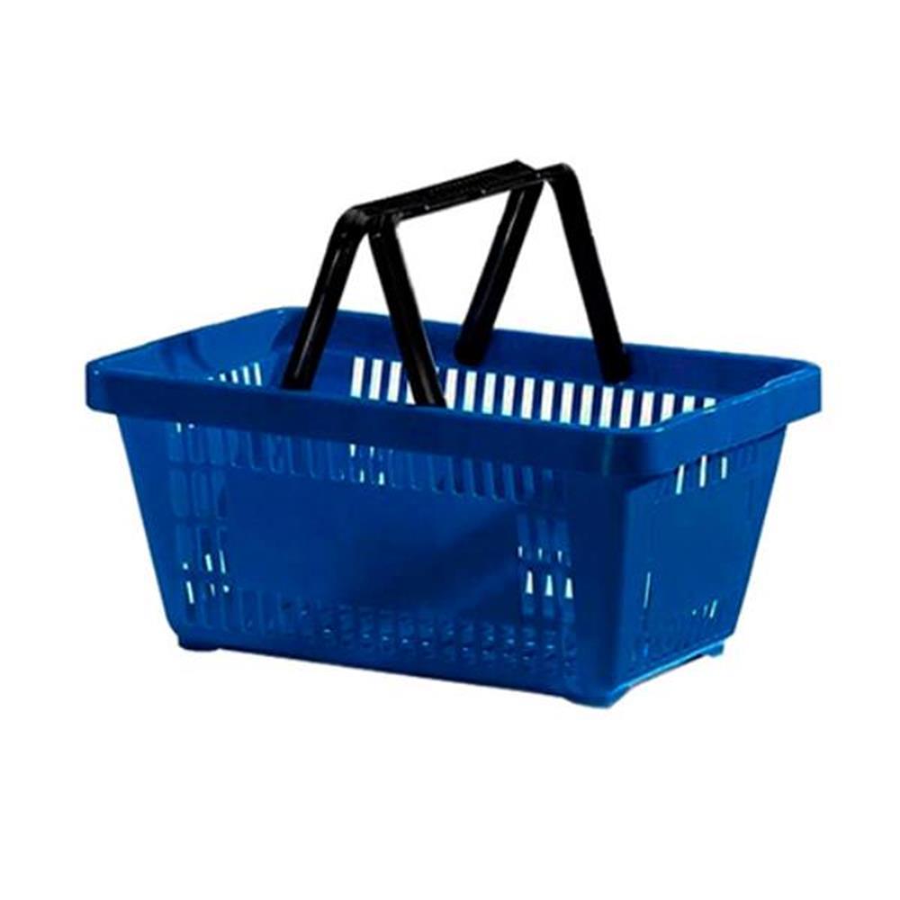 Cesta de Compras com Alça Plástica Azul - 21,4L