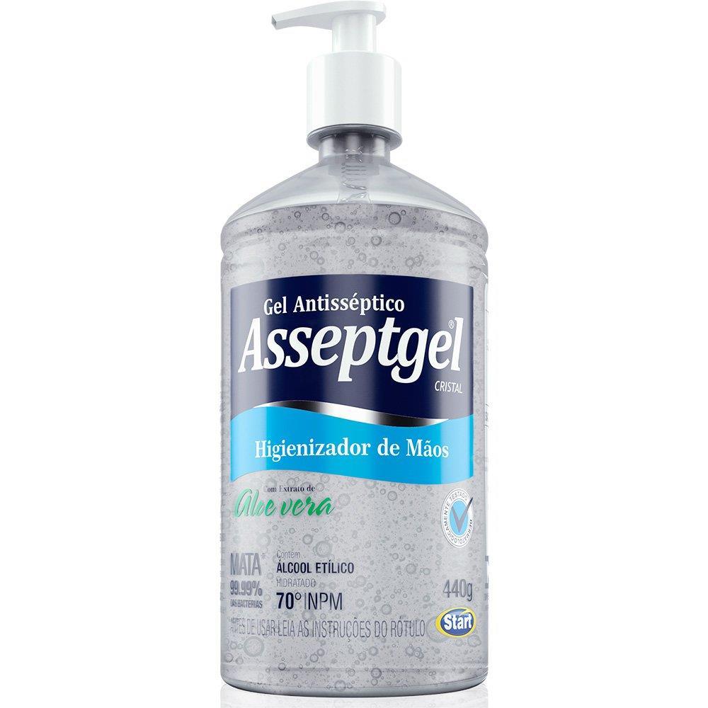 Álcool em Gel 70° Antisséptico para Mãos Asseptgel com Bico Dosador - 420g
