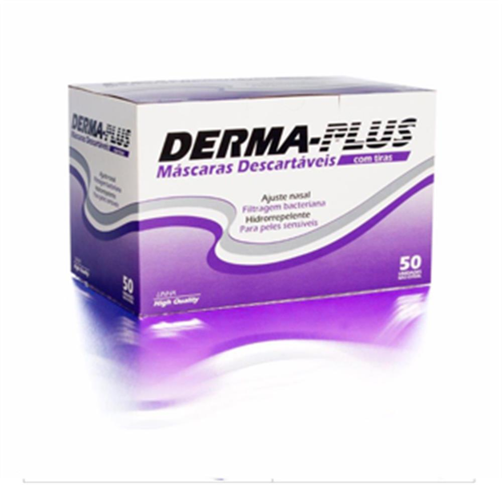 Máscara Tripla Branca Descartável c/ Elástico (Derma Plus) - 50 unids.