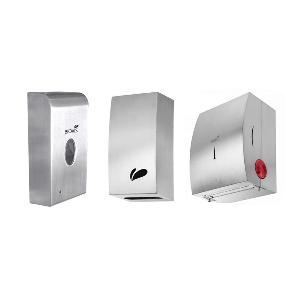 KIT Dispenser Inox (Porta-Papel Higiênico/Saboneteira Espuma/Toalheiro) (Noble)