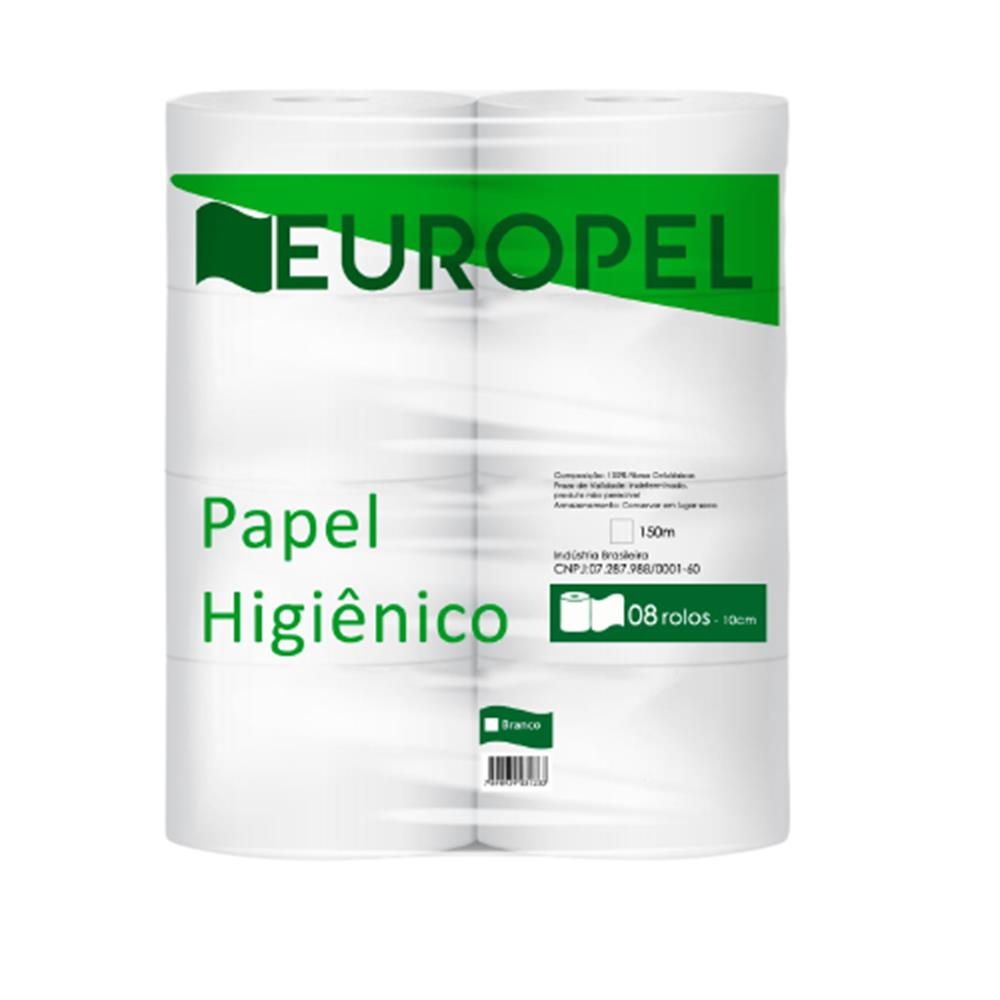 Papel Higiênico Europel Branco  - 8 Unid - 150 M