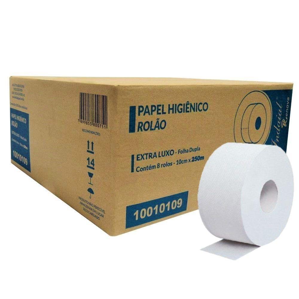 Papel Higiênico Indaial Extra Luxo 100% Celulose 250 m Folha Dupla - 8 Unidades