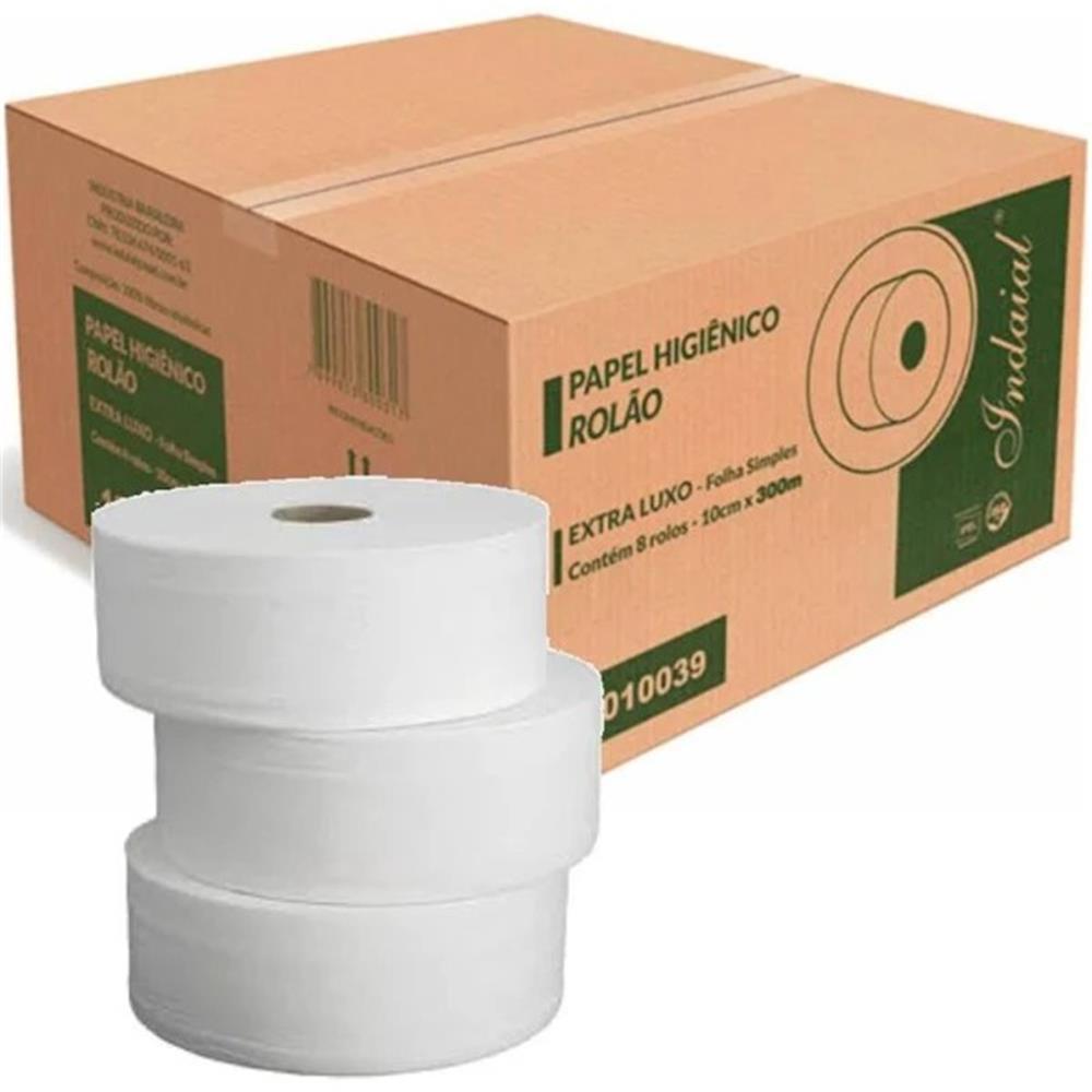 Papel Higiênico Indaial Luxo 100% Celulose Big Tub 300m Folha Simples - 8 Unid