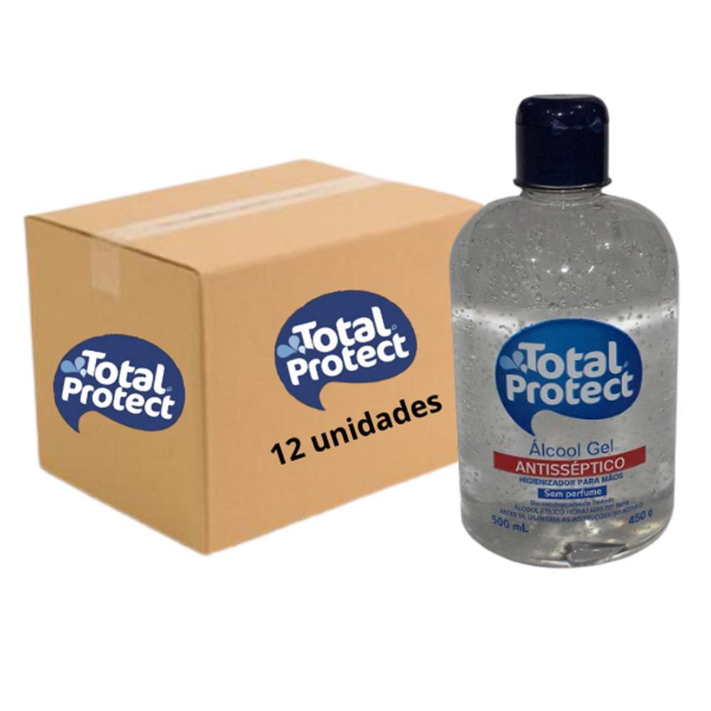Álcool em Gel 70° Antisséptico para Mãos Total Protect - 450g - Caixa com 12 Unidades