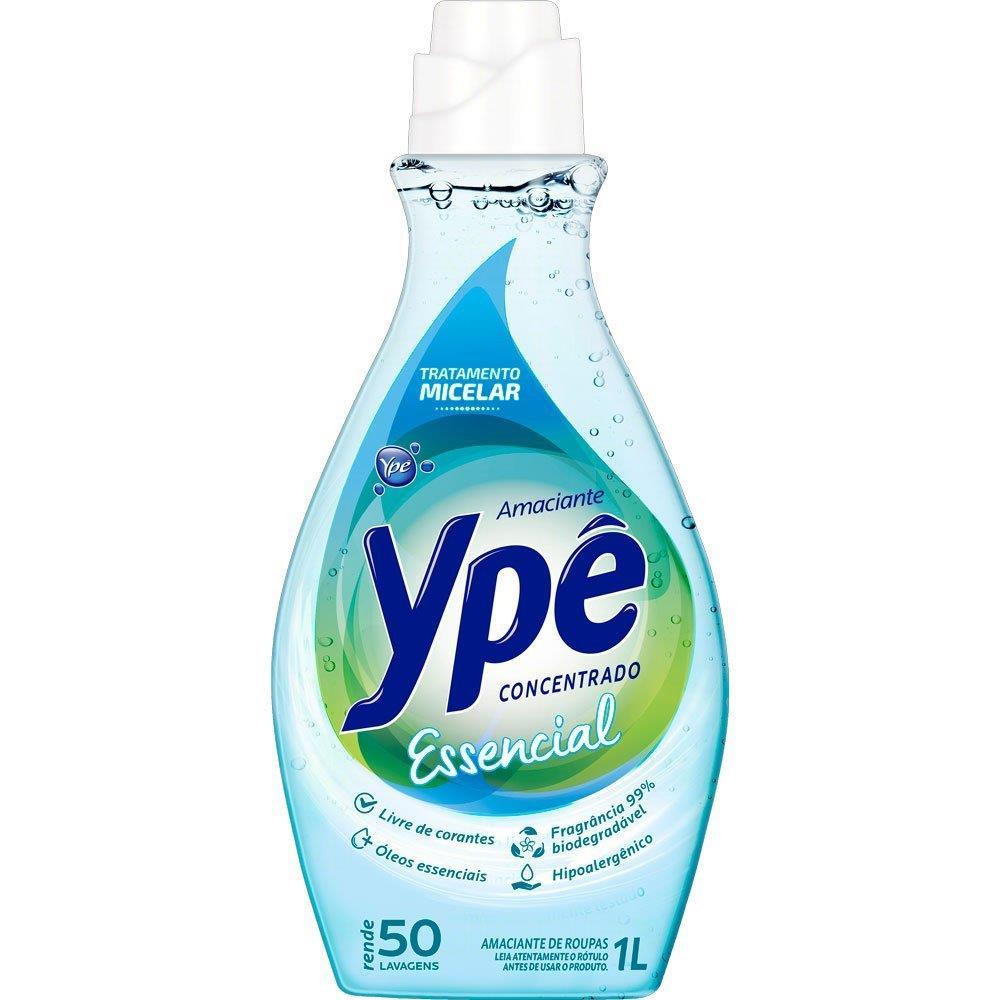 Amaciante Concentrado Ypê Essencial rende 50 lavagens -  1L
